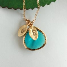 personalized necklace - blue glass stone in gold bezel - cute!