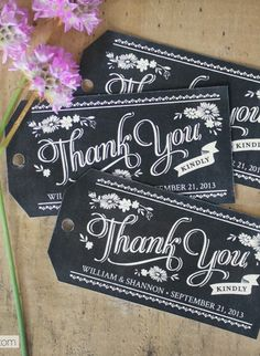Free printable chalkboard style thank you gift tags which you can personalise and give to guests when they leave the wedding, saves having to send out thank you cards.