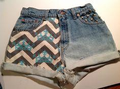 ZTA High Waisted Shorts Crown Print Chevron Dip Dyed Studs Zeta Tau Alpha //SUZNEWS Etsy Store//