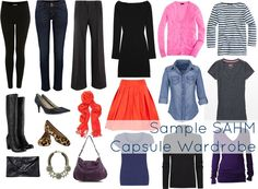 Sample capsule wardrobe for the SAHM stay at home mom. Practical yet stylish fashion advice for the new mom. How to dress with style and comfort as a parent