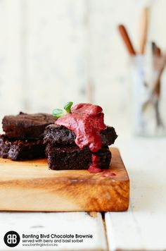 BANTING BLVD Chocolate Brownie Premix with Berry and Basil Sorbet - Banting Blvd