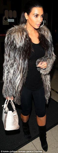 Kim Kardashian reveals her figure in skintight leggings and sheer top after being forced to shed fur coat at airport   Daily Mail Online