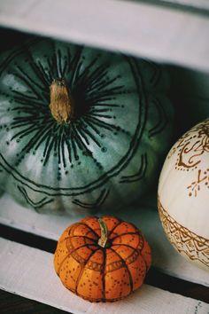 henna and wood burned pumpkins