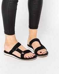 Женские сандалии Teva Universal Black Slide Flat Sandals