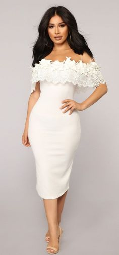 White Boat Neck Floral Lace Applique Overlay Cocktail Midi Dress