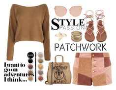 """""""Patched in Brown"""" by stephaniefb ❤ liked on Polyvore featuring WYLDR, Boohoo, Topshop, Giorgio Armani, Moschino and Sole Society"""