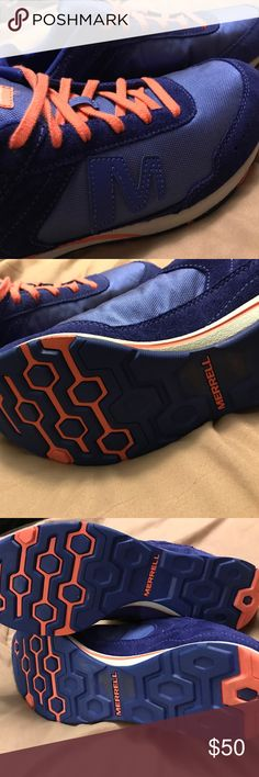 Merrell Trail shoes Merrell outdoor trail shoes in EUC, like new. only worn a few times. Washed 1x Size runs small. Will fit 9.5 better color is purple(looks blue) /coral Merrell Shoes Athletic Shoes
