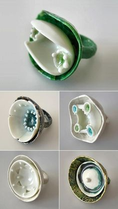 Anne Perbet (French) porcelain, paper and glass rings