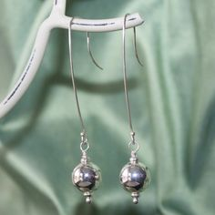 Long French Wire Silver Ball Dangle Earrings on Etsy, $22.00 CAD