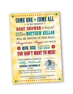 Circus Theme Baby Shower Invitation Design