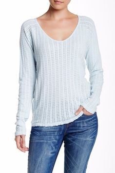 VELVET By Graham & Spencer Bythe Long Sleeve Thermal Slub Tee Top Blue S $108 #VelvetbyGrahamSpencer #KnitTop #Casual