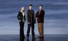 Anna Torv as Fringe's Olivia Dunham, Joshua Jackson as Peter Bishop and John Noble as Dr Walter Bishop. Fringe, season 5