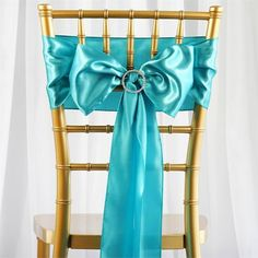 5pc x Satin Turquoise Chair Sash | eFavorMart /  Satin has an unsurpassed sophistication and charismatic appeal about itself, it is undoubtedly, most preferred embellishing fabric that is adored by people all over the world and is tirelessly utilized in designing elegant formal attires, accessories, decorative flowers, ornaments and a lot more. The lustrous glossy texture of the fabric together with the seamless sheen and sublime elegance it exudes make it everyone's favorite all around the…