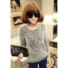 $9.72 Stylish Scoop Neck Fluffy Long Sleeves Knitting Sweater For Women