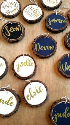 Custom Rustic Hand Lettered Ornaments by NorthWoodsMakers on Etsy