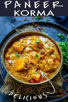 Paneer Korma Recipe, Paneer Recipes, Curry Recipes, Indian Food Recipes, Ethnic Recipes, Paneer Dishes, How To Make Paneer, Menu List, Vegetarian Curry
