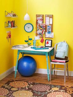 We love this cute and colorful kid's desk! More clever homework stations: http://www.bhg.com/rooms/kids-rooms/storage/homework-station/?socsrc=bhgpin072114cuteandcolorfulkiddesk&page=3