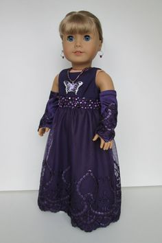 American girl doll clothes for Christmas Party CHALIENA-Full Length Dress in Crepe back satin with embroidered Beads with Gloves & Necklace