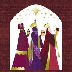 xmas card kings | ... imagining of the Three Kings, with accented detail in the border