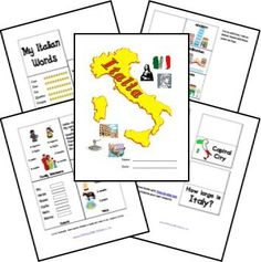 Italy Country Lapbook Printables from Homeschool Share can be used to supplement Papa Piccolo (Five in a Row Volume I) World Cultures, Countries Of The World, My Father's World, Learning Italian, Italy For Kids, Multicultural Activities, Around The World Theme, Italy Country, World Thinking Day