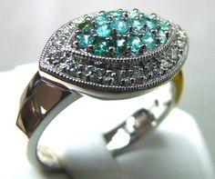PARAIBA RING   18K WHITE GOLD  35CTS DN-33  pariba gemstone ring