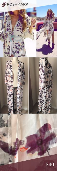"""Last one❗️Beautiful floral long Kimono Beautiful floral long Kimono  No belt no pockets, light weight perfect for Day wear or night time such an elegant piece! Nwot purple white orange cream gray floral prints Will fit med to large 10(12) 2 side slits, half sleeves material chiffon. Length 33""""shoulder 17""""     BUNDLE & SAVE 15% ✨TOP RATED SELLER✨ SAME DAY OR NEXT DAY SHIPPING! ❤REASONABLE OFFERS WELCOME❤ ❌NO TRADES OR PAYPAL❌ Tops"""