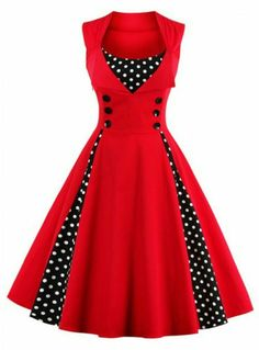 Rose Wholesale - Retro Button Embroidered Polka Dot Dress