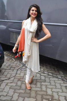 Kick Actress Jacqueline Fernandez in Plain White Anarkali Suit