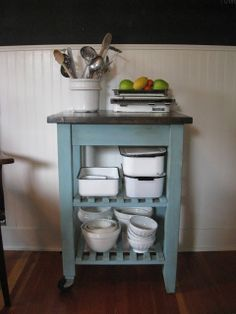A French Touch: SOLD - Kitchen Cart    paint Ikea cart at end of island?