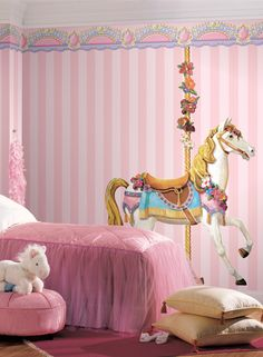 71a2111452 I just love this playful carousel horse wall applique and the pink stripes.  Wallpaper Carousel