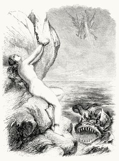 Ruggiero sets Angelica free. Tony Johannot, from Roland furieux (Orlando Furioso or The Frenzy of Orlando), by Ludovico Ariosto, Paris, 1864.