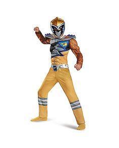 Power Rangers Dino Charge Gold Ranger Boys Costume - Spirithalloween.com