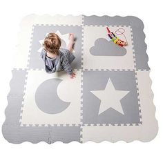 "4.best baby floor mat: Interlocking Foam Baby Play Mat Tiles - Non-Toxic, Extra Large Thick Floor Squares, 61"" x 61"" Unisex Grey & White Playroom & Nursery Mat, Safe & Protective For Infants, Toddlers, Kids"