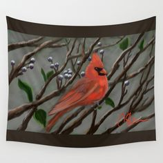 Male Cardinal DP151210a-14  Wall Tapestry