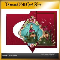 Fairy Flowers Diamond Front Card Kit on Craftsuprint designed by Lynne Crosskill - **NEW** Diamond Front Fold Back Card Kits.Super easy to make.Kit includes:1 card sheet1 Decoupage sheet1 background sheet1 envelope sheetSentiment tags. - Now available for download!