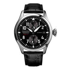 Il PANZERA Flieger F47-01D ARADO è un orologio automatico Pilot tedesco classico da 47 millimetri. Movimento automatico decorato Panzera PZ-2BA0, 22 jewels, riserva di carica 40 ore, si può ammirare attraverso il vetro nel fondello. Riserva di carica. ------------------------------------------------- The PANZERA Flieger F47-01D ARADO is a classic German 47mm automatic pilots watch. Movement: automatic nicely decorated Panzera PZ-2BA0 with 22 jewels, date function and 40 hour power reserve.