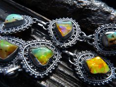 40% OFF SALE fire opal bracelet, link bracelet,  gemstone bracelet, chain bracelet, rough opal stone