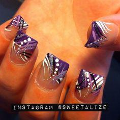 Shades of purple nail art