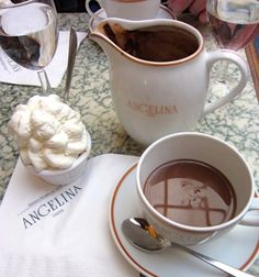Angelina Chocolat Chaud with whipped cream