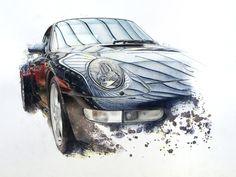 Blue and red Porsche by Monika Godsmark, via Behance Vintage Racing, Vintage Cars, Most Popular Cars, Rendering Art, Car Illustration, Car Sketch, Car Drawings, Car Painting, Automotive Design