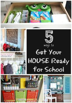 5 Ways to Get your House Ready for Back to School: Get clothes ready for the week, prep lunches the night before, pack the bags the night before and have a homework station set up ahead of time! Back To School Organization, Back To School Hacks, Prep School, Back 2 School, Going Back To School, New School Year, First Day Of School, School Fun, School Days