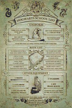 - Poster - Hochformat - 61 x 91,5 cm  Du wolltest schon einmal genau wissen, was Harry, Ron und Hermine für ihr erstes Schuljahr brauchten? - Dann kommst du um dieses Poster nicht herum. Es zeigt die alles, was ein Erstklässler in Hogwarts benötigt.
