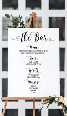 Touch of Black Wedding Inspiration - Calligraphy Bar Sign. #barsign #calligraphy