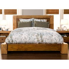 Alpine Furniture ORI 811 07EK Jimbaran Bay Eastern King Platform Bed In  Tobacco