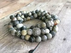 Buddha Necklace or Wrap Bracelet / Women's or Men's 108 Mala Bead Jewelry / Sterling Silver Yoga Jewelry  Ask a question