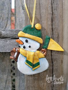 OOAK  Green and Gold Football Resin Ornament by ajsarts on Etsy, $15.00