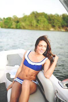 A weekend on the water wearing #seersucker :) #laurenjames #seersuckerbikini #lifeisbetterinLJ