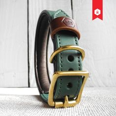 MONOGRAM TWO TONE LUXURY PADDED LEATHER DOG COLLAR IN HUNTER GREEN & CHESTNUT
