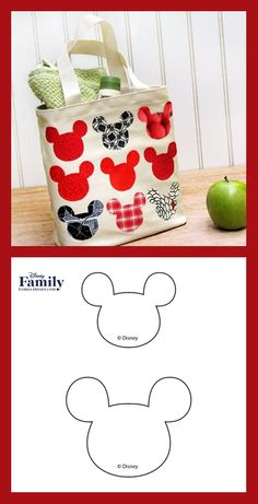 Create a Mickey Tote Bag, a craft inspired by Mickey Mouse, with step by step instructions provided by Disney Family. Mickey And Friends, Disney Family, Step By Step Instructions, Mickey Mouse, Birthdays, Parties, Tote Bag, Sewing, Pattern