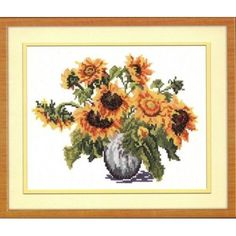 Cross Stitch  SUNFLOWERS    100% AUTNENTIC   The size of the finished work: 22*17 cm  Technique: Counted Cross (Counted Cross Stitch) Type Canvas: Aida 14 Color Canvas: White The composition of the canvas: Cotton Producer thread: BESTEX The composition of the thread: Cotton Number of colors: 16 The kit includes: Yarn sewing needle embroidery, canvas, diagram, instructions   The frame in kit is not included.   Manufacturer: Wonderful needle (Russia)